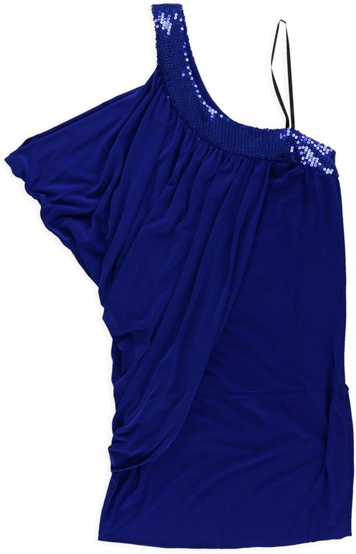 Blondie Nites Womens Drape One Shoulder Dress