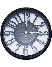 DILAW - Reloj de Pared de 30 Centímetros de Diámetro. Reloj de Decoracion Pared Silencioso. Panel Negro, Marco Negro y Agujas Blancas