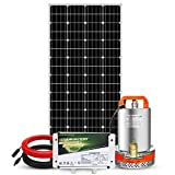 Pumplus All-in-One 195W Solar Well Pump System, 12V Deep Well Submersible Pump + 195W Solar Panel + 6Ah 2 in 1 Battery + 16ft Cable + Charge Controller for Remote Watering, Garden,Irrigation