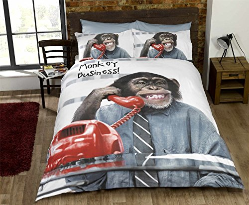 URBAN UNIQUE Monkey Business King Quilt Duvet Cover & 2 x P/case Bed Set New, Cotton and Polyester, Grey