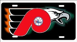 ATD Philadelphia Sport Teams Combined Logo on Black Backgound Novelty License Plate Decorative Vanity Car Tag