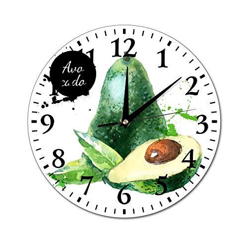 Mesllings Reloj de Pared de Acuarela Redondo de Cristal de Aguacate, Reloj de Pared para decoración de la Pared para Cocina, Oficina, Reloj Colgante Retro, Accesorios de decoración del hogar