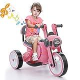 TOBBI Kids Ride On Car 3 Wheel Led Motorcycle Trike for Toddler Battery Powered Pink