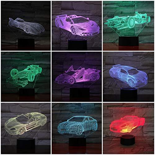 Super Sports Car Night Light LED 3D Illusion Mesita de noche Lámpara Novedad Iluminación Holograma Niños Niños Regalo Gadget Mesita de noche Lámpara Decoración de dormitorio