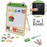 Kurtzy Double Sided Black and White Wooden Easel Board for Kids, Children