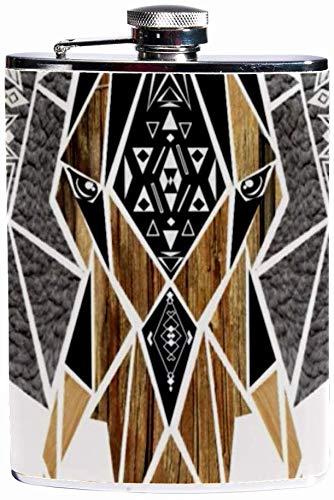 Auslaufsicherer Spirituosen-Flachmann 7,6 Unzen Flagon Mug Lederbezug mit Taschenbehälter im Afrikanischen Elefanten-Design für diskreten Schnaps