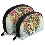 Cool Tiger On Artistic Polygon Design Set de Bolsas de Maquillaje para Viajes y Almacenamiento Diario - Funda cosmética práctica con Forma de Concha
