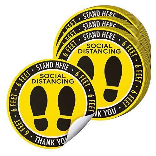Social Distance Floor Stickers, 30-Piece, Social Distancing Floor Decals, 8 Inches Diameter 6 Feet Apart Floor Stickers, Yellow