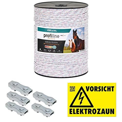 VOSS.farming 500m Kunststofflitze 6mm mit Litzenverbindern Weidezaunseil Weidezaun Litze Kordel