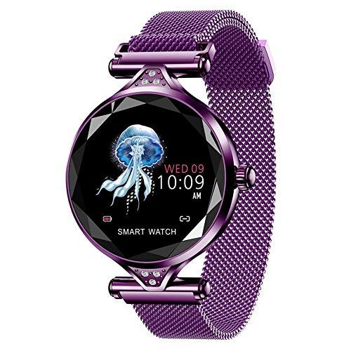LHY Reloj Inteligente Femenino, Pulsera De Metal con Podómetro De Ejercicio, Detección De Frecuencia Cardíaca, Recordatorio De Llamada, Función De Ejercicio, Detección De Frecuencia Cardíaca,3