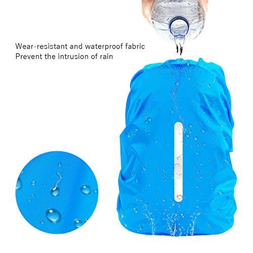 [LAMA]2枚セットリュックカバー防水レインカバーランドセルリュックザックカバー雨よけバックパック光反射テープ付き撥水梅雨対策防災グッズ(M,ブラック・ブルー)