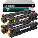 LINKYO Compatible Toner Cartridge Replacement for Canon 045 High Capacity 045H (Black, Cyan, Magenta, Yellow, 4-Pack)