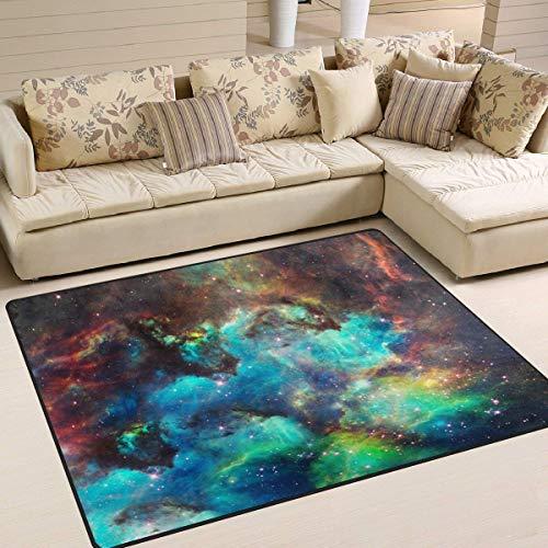 ZHYF Tappeto Nebulosa Universo Tappeto Tappeto Antiscivolo per Soggiorno Sala da Pranzo Cucina Camera da Letto, 150 x 200 cm (5 'x 7' ft), Tappeto per materassino per tappeti per materassi Galaxy