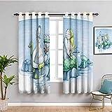 Mermaid Decor Collection - Cortinas de privacidad para ventana, diseño de flores, color verde azulado y mostaza (72 x 72 pulgadas)