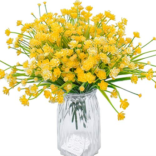 XONOR Flores artificiales – 8 paquetes de flores artificiales resistentes a los rayos UV no se decoloran plantas vegetales para jardín, bodas, casas de campo, decoración interior y exterior (amarillo)