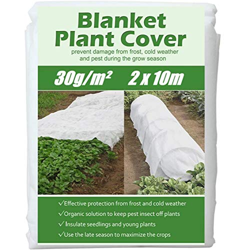 KAHEIGN 2 x 10M Plant Frost Protection Fleece, 30gsm Garden Fleece Plant Antifreeze Cloth Winter Plant Protection Fabric, Cover From Birds and Insects