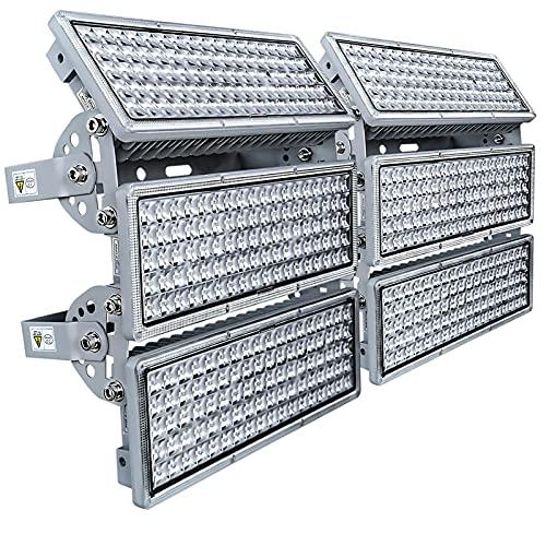 Kekeou 600W Flood Light Outdoor LED 300W Stadium Light 2 Pack Super Bright Stadium Lighting 6500K IP67 Outdoor Basketball Lighting for Playground Lawn