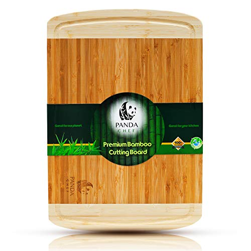 Panda Chef Professional Bamboo Cutting BoardBest Wood Carving Board w/Juice Groove Extra Large Butcher Block Meat Heavy Duty Chopping Block Vegetables Cheese/Bread Serving Tray 18X12 Inches
