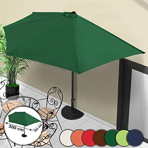 MIADOMODO Mezzo Ombrellone - Ø 3 m, con Manovella, Protezione UV 30+, Colore a Scelta - Ombrellone da Muro, a Parete, Balcone, Terrazzo, Giardino (Verde)