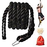 GaaMaa Actv Gym Climbing Rope for Fitness with Metal Carabiner -1.5 Inch Diameter Battle Rope for Training- Battle Rope for Kids Play Ground - Workout Fitness Rope with Gloves and Bag (15 Feet)