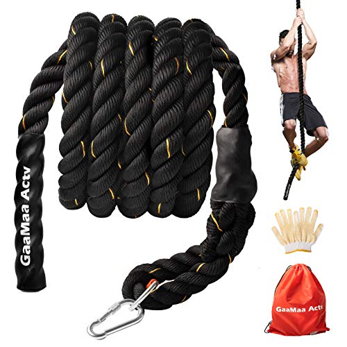 GaaMaa Actv Gym Climbing Rope for Fitness with Metal Carabiner -1.5 Inch Diameter Battle Rope for Training- Battle Rope for Kids Play Ground - Workout Fitness Rope with Gloves and Bag (15, 20 Feet)