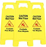 Galashield Wet Floor Sign 3 Pack 2-Sided Safety Yellow Warning Signs Commercial 26' Caution Wet Floor Signs