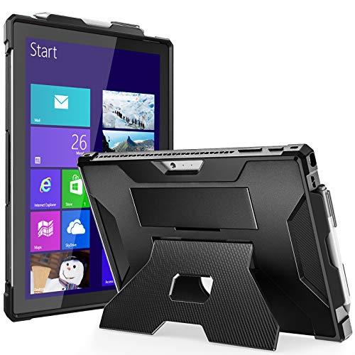 TiMOVO Funda Compatible con Surface Pro 7 Plus/Pro 7/Pro 6/Pro 5/Pro 4/Pro LTE, Cubierta de Múltiples Ángulos con Correa de Mano y Portalápices Apto Type Cover Keyboard, Negro