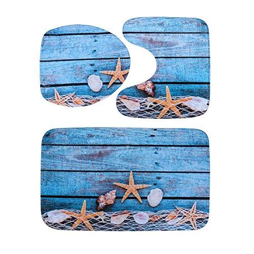 demiawaking 3Stück Badteppich Sets rutschfeste Flanell Badteppich + Vorleger + WC-Sitz Matte Fishing Net and Starfish