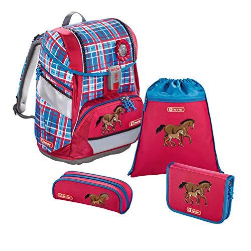 """Step by Step Schulranzen-Set 2IN1 """"Horse Family"""" 4-teilig, rot-blau, Pferde-Design, ergonomischer Tornister mit Reflektoren, höhenverstellbar mit Hüftgurt für Mädchen 1. Klasse, 19L"""