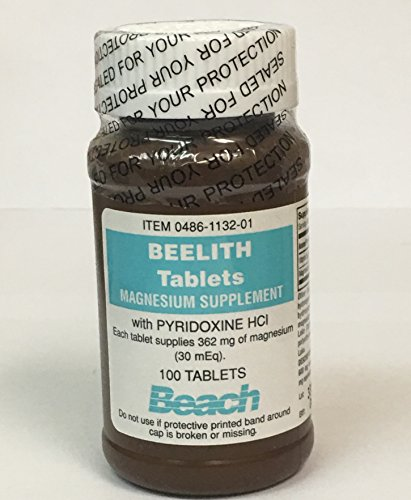 Beelith tablets magnesium supplement with and pyridoxine HCL - 100 each - Buy Packs and SAVE (Pack of 2)