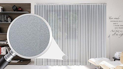 Maßgeschneiderte weiße Dreher Sablé Store Gardine, inklusive Blei und Automatik Faltenband 1:2,5, 3er Falte, Gardinen nach Maß, Vorhang nach Maß, Höhe 90 – 295 cm(265cm Höhe x 600 cm Breite)
