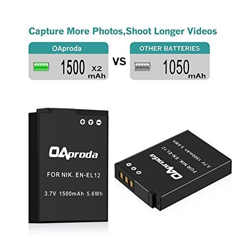 OAproda 2 Pack EN-EL12 Battery and Rapid Dual USB Charger for Nikon Coolpix W300, AW100, A1000, A900, B600, S9900, S9500, S9300, S9200, S8200, S6300, S6200, S6100, S800C, S710, S1200pj Camera
