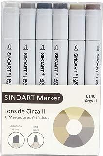 Marcador Artístico Marker, Sinoart, 6 Tons de Cinza II, Pacote de 1