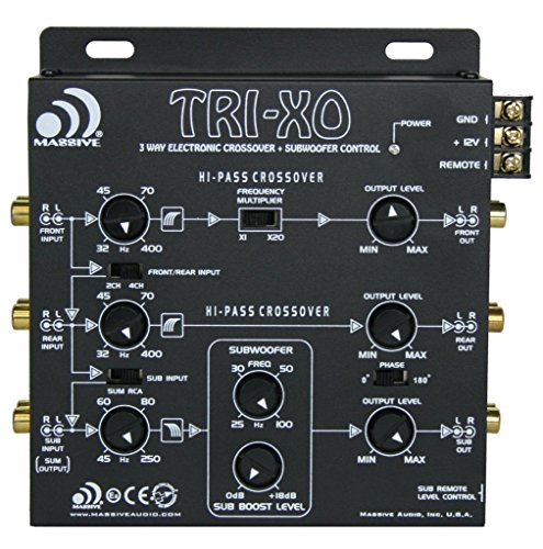 Massive Audio TRI-XO - 3 Way Electronic Crossover with Subwoofer Control, 180 Phase Switch, 3 Sets 5V Outputs, Adjustable Crossovers