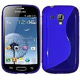 ebestStar - Funda Compatible con Samsung Galaxy Trend S7560, S Duos S7562 Carcasa Gel Silicona Gel TPU Motivo S-línea, S-Line Case Cover, Azul [Aparato: 121.5 x 63.1 x 10.5mm, 4.0'']