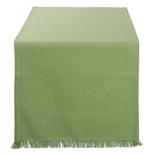 "DII Cotton Woven Heavyweight Table Runner with Decorative Fringe for Spring, Summer, Family Dinners, Outdoor Parties, & Everyday Use (14x72"") Bright Green Solid"