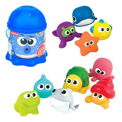 winfun - Juego 10 animalitos marinos de goma para el baño (46333)
