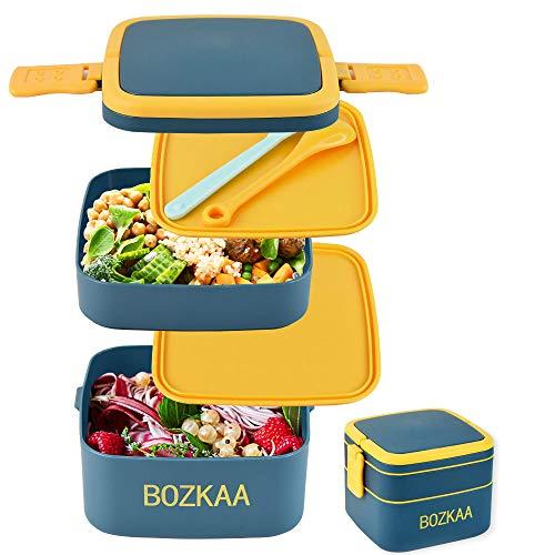 Bento Box, Brotdose Kinder mit Fächern, Lunch Box Kinder mit Besteck, Perfekt für Unterwegs, Geeignet für Mikrowelle und Geschirrspüler, Lunchbox(Blau)