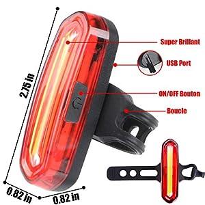 WOSTOO Luz Trasera para Bicicleta Recargable USB, LED Faro Trasero Bici, Super Brillante Rojo Luz LED Bici de 120 Lúmenes, Impermeable, 240 ° Faro Trasero Bici para Máxima Seguridad de Ciclismo