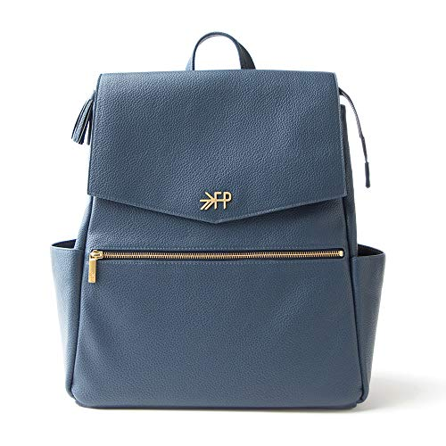 Freshly Picked - Convertible Classic Diaper Bag Backpack - Large Internal Storage 10 Pockets Wipeable Vegan Leather - Navy Blue