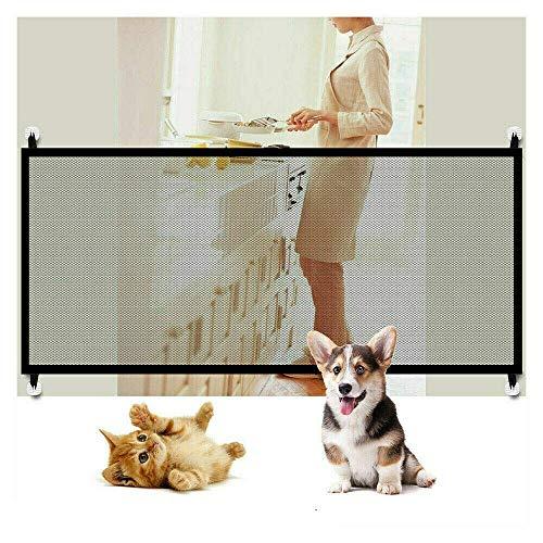 LONGCHAOP Puerta Mágica para Mascotas o Bebés, Barrera Seguridad Perros, Puerta de Perro, Barrera para Perro, Plegable y Portátil Ideal paraCocina, Escaleras, Balcón, Negro,110 x 72 cm