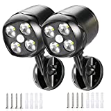 LED Spotlight Lights, Wireless 600 Lumen Battery-Operated Outdoor Wall Light with Motion Sensor Security Lights, Waterproof Security Lighting for Wall Garden Garage Pathway (2 Pack)。