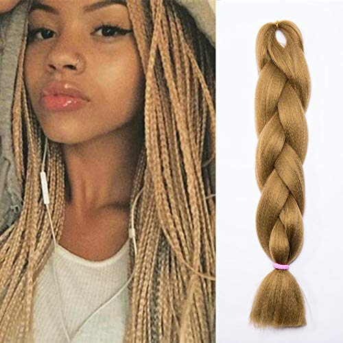 24 Pouce Tresse Cheveux Synthetique Tressage Braiding Hair Extension Cheveux 1Pcs 100g/Paquet 60CM - Blond foncé