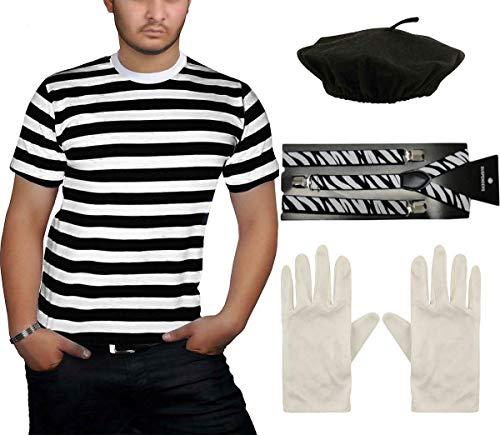 Accesorio para disfraz de Mime francés para adultos, color negro, blanco, a...