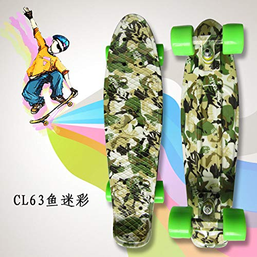 zzzddd Cruiser,Camouflage Cruiser Vierrädriges Kleines Fisch-Skateboard Road Single Tilt Skateboard, Leichtes Classic Child Adult Outdoor-Sport Brush The Street Skateboard