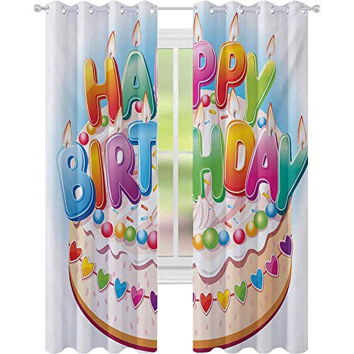 kids blackout curtains, Cartoon Style Happy Birthday Party Image Cake Candles Hearts Design Print, W52 x L108 Window Curtain Panel for Nursery Room, Multicolor