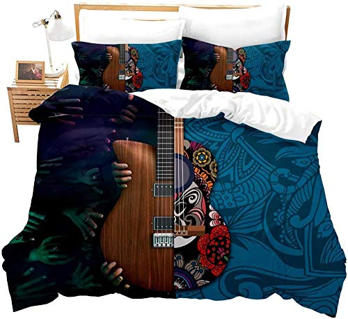 Matasuer Duvet Cover With Pillow Cases - Scary Hand Red Brown Musical Instrument Guitar Plant Floral Pattern - Double (200 X 200 Cm) Quilt Cover Bedding Bedroom Set Soft Hypoallergenic Brushed Microf