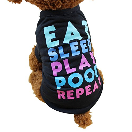 WEUIE Big Promotion! Puppy Clothes Summer Dog Clothing Polyester T-Shirt Puppy Costume for Small Dog (S, Black)