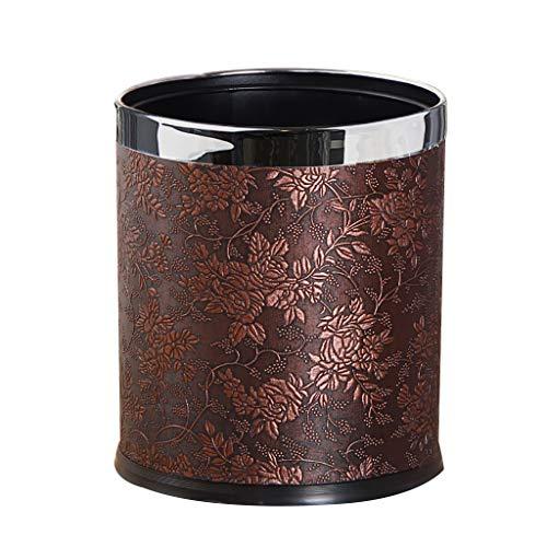 Poubelle- Poubelle de luxe en métal Poubelle avec couverture en cuir, Open Round Top Bureau Wastebasket (Color : White)