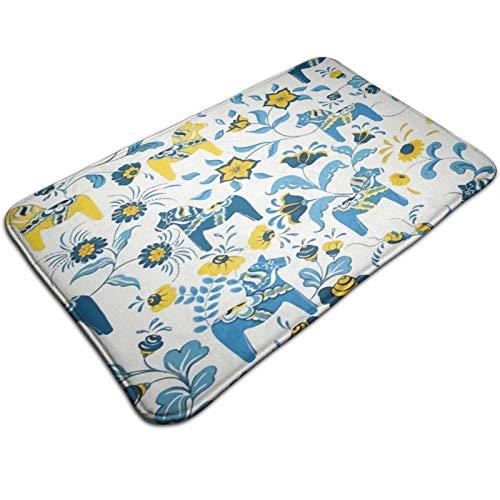 """Axtuxdell Bath Mat Non-Slip Bathroom Rug Shower Floor Carpet Doormat Bedroom Rug Kitchen Toilet Floor Scandinavian Swedish Dala Horses and Kurbits Flowers 31.5"""" x 19.7"""""""